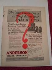 Vintage 1929 Ad Advertisement  Anderson Diesel Engines, Anderson Foundry