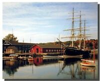 Mystic Seaport And Sailboat Landscape Nature Wall Decor Art Print Poster (16x20)