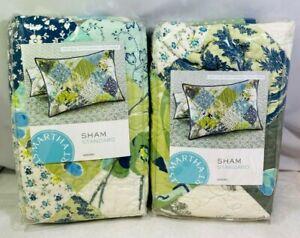 Martha Stewart Antique Patchwork Artichoke Standard Quilted Pillow Sham x 2 NEW