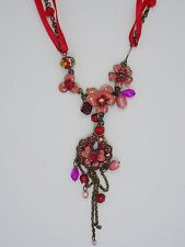 SUMPTUOUS MICHAEL NEGRIN STYLE ENAMEL JEWELED FLORAL DROP NECKLACE