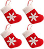 4pk Xmas Cutlery Holders Mini Stocking Tableware or Tree Gift Pouch Decoration