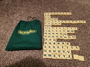 Spare Scrabble tiles, Green Letters, & Bag, Good condidtion.