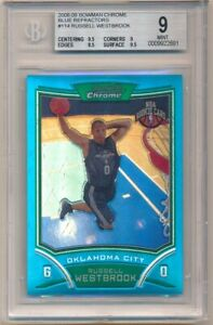 RUSSELL WESTBROOK 2008/09 BOWMAN CHROME RC BLUE REFRACTOR SP #44/99 BGS 9 MINT