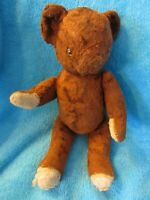 "ANTIQUE VINTAGE TEDDY BEAR 14"" RED BROWN PLUSH JOINTED KNICKERBOCKER GUND 1950s"