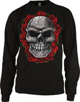 Skull Death Red Roses Dia De Los Muertos Halloween Scary Long Sleeve Thermal