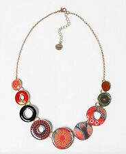 Desigual Circulos Lluka bright orange circles necklace new RRP £39 free p&p!