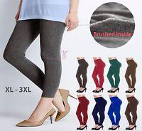 Women Warm Thick Brushed Fleece Lined Full Length Legging Plus Size Pants XL-3XL
