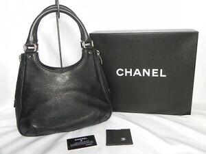 Rare Chanel Black Caviar Leather Satchel Bag Shoulder Bag Designer Purse