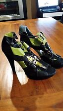 Zoe Wittner leather Black/Green very lady platform heel sz39 preown free post E4