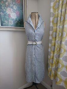 Europe Womens Stripe Shirt Dress Asymmetrical Hem Sleeveless Skirt Cotton Blend8