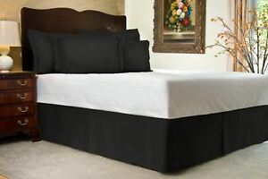 Black Solid Bed Skirt Select Drop Length All US Size 1000 TC Egyptian Cotton