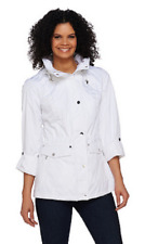 Susan Graver Snap Front Anorak Jacket with Hood, White, Size 3X, $73