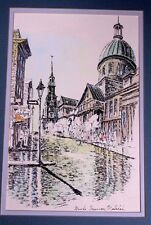Marche Bonsecours Montreal Canada Signed La Rose Watercolor Pen and Ink 12 x 16""