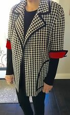 St. Johns Women's Jacket Houndstooth Black White, Red Cuffs and Inside Looks New