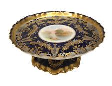 Powell, Bishop & Stonier Porcelain Compote Cake Plate Cobalt Blue Gilt, c1890