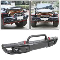 For 18-20 Jeep Wrangler JL Rubicon &2020 Gladiator Front Bumper w LED Fog Lights