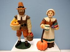 """4"""" Midwest Plaster Man and Woman Thanksgiving Figures"""