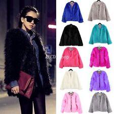 New Ladies Womens Warm Faux Fur Fox Coat jacket Winter Parka Outerwear