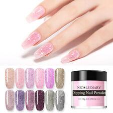 NICOLE DIARY 10g Glitter Pink Dipping Powder Nail Art Dip System NO UV Lamp Need