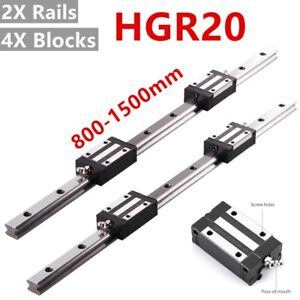 2Pcs HGR20 800-1500mm Linear Guide Rail with 4Pcs HGH20CA Bearing Block for CNC