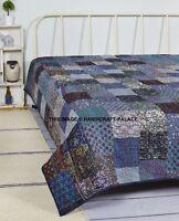 Indian Vintage Kantha Quilt Handmade Blue Silk Bedspread Bedding Blanket King