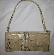 ABACO PARIS python beige tan with metallic gold accent evening bag purse