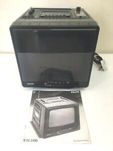 "Vintage Philips 9"" Cube TV/Cassette/Radio Type 9 TC2100 Working Rare 70's/80's"