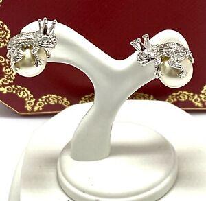 .925 Sterling Silver Pearl & Diamonique Diamond Round Cut Stud Earrings