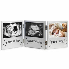 VonHaus Silver Baby Scan Ultrasound Keepsake Triple Photo Frame / Pregnancy Gift