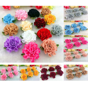 10-100pcs Satin Ribbon Carnation Flower Appliques/craft/Wedding decoration