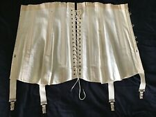 Antique Embroidered Cotton Corset S-Xs Garters