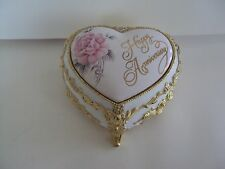 Musical Floral Metal Ceramic Music Jewelry Box Sankyo Japan Happy Anniversary