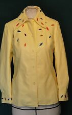 Butter Colored Soft  Vinyl Applique Designs Jacket B38 by Gerda 9/10