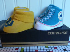 2 PAIRS TURQUOISE & YELLOW CONVERSE HIGH TOPS ALL STARS BABY BOOTIES