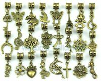 50pcs Lots Mix Antique Bronze Dangle Charms Fit European Bracelet ZY016