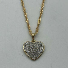 """9ct Gold Hallmarked 18"""" Cubic Zirconia Heart Necklace.  Goldmine Jewellers."""