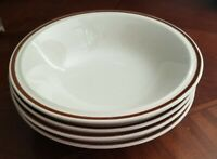 """Set of 4 Casual Elegance Stoneware Cream w Brown Band 7"""" Cereal Soup Bowls Mint"""