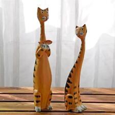 Cat Sculpture Statue Wooden Creative Accessories Vintage Kitten Home Decorations
