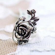 Rings Finger Vintage Silver Rose Flower Vine Retro Tibet Women's Ring W1E