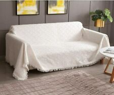 "Rose Home Fashion Geometrical Sofa Couch Cover X-Large: 90""x133"" Beige"