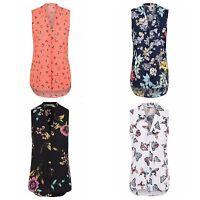 Ex Store Ladies Pleated V-Neck Chiffon Sleeveless Blouse Size 8- 24