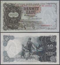 1938 Latvian Government State Treasury Note 10 Latu (Unc)