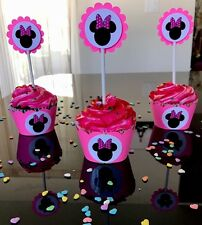 30  MINNIE MOUSE 15 Cupcake Toppers And 15 Wrappers Party Favors, Baby Shower.
