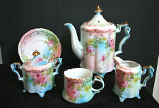 SIGNED R S Suhl Exceptional 7 Piece Hand Painted Cottage Chic Tea Set GERMANY