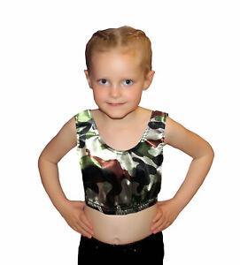 Girls Shiny Wet Look Crop Top Metallic Mini Short Gymnastic School Dance Wear UK