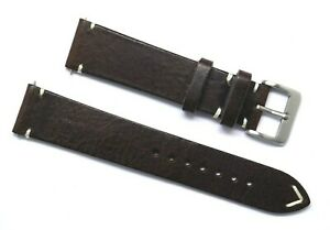 20mm Brown/White Leather Watch Strap Handmade Classic Style W/ Silver Buckle