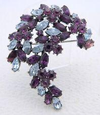 VTG 1961 CROWN TRIFARI Silver Blue Purple Rhinestone Leaf Flower Pin Brooch