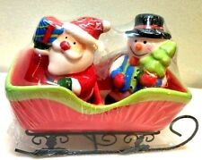 Christmas santa and snowman in sleigh Salt and Pepper set New in box