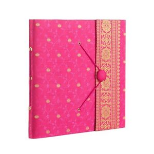 Fair Trade Handmade Large Cerise Sari Photo Album, Scrapbook 2nd Quality
