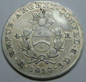 1850 ARGENTINA LA RIOJA 4 REALES SILVER 13.42 gr.